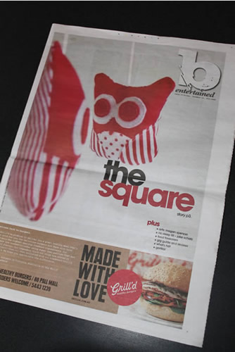 Red owls mobile on the front page of the 'b entertained' section of the Bendigo Advertiser in December 2010