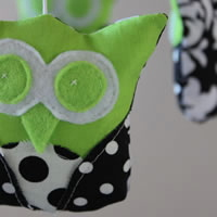 Black, white and green owls nursery mobile
