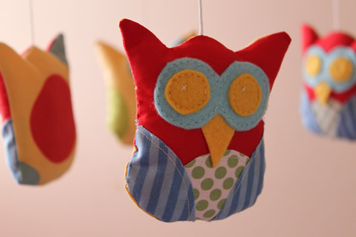 Nursery mobile - Owls in primary and secondary colours - by The Bear & The Whale